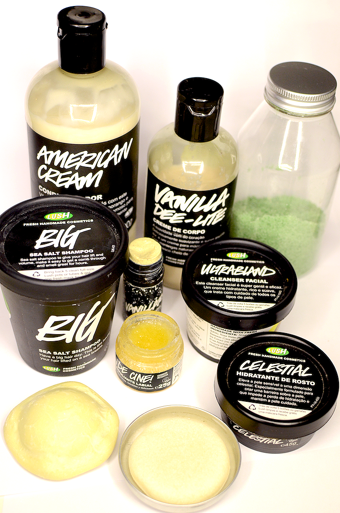 top to bottom, left to right: American Cream conditioner; Vanilla Dee-Lite body moisturiser; Sugar Scrub; Big shampoo; Vanillary Gorilla solid perfume; Ultrabland facial cleanser; Popcorn lip scrub, King of Skin Body moisturising bar; Honey, i've Washed My Hair shampoo bar; Celestial facial moisturiser